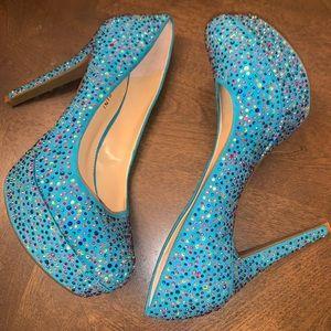 Gianni Bini Teal Blue Crystals Platform Heels 10